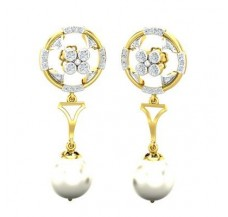Diamond Pearl Earrings 0.49 CT / 4.65 gm Gold