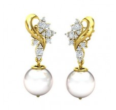 Diamond Pearl Earrings 0.51 CT / 3.61 gm Gold